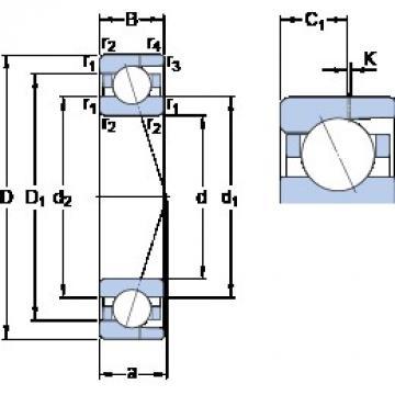 12 mm x 28 mm x 8 mm  12 mm x 28 mm x 8 mm  SKF 7001 CD/P4AH angular contact ball bearings